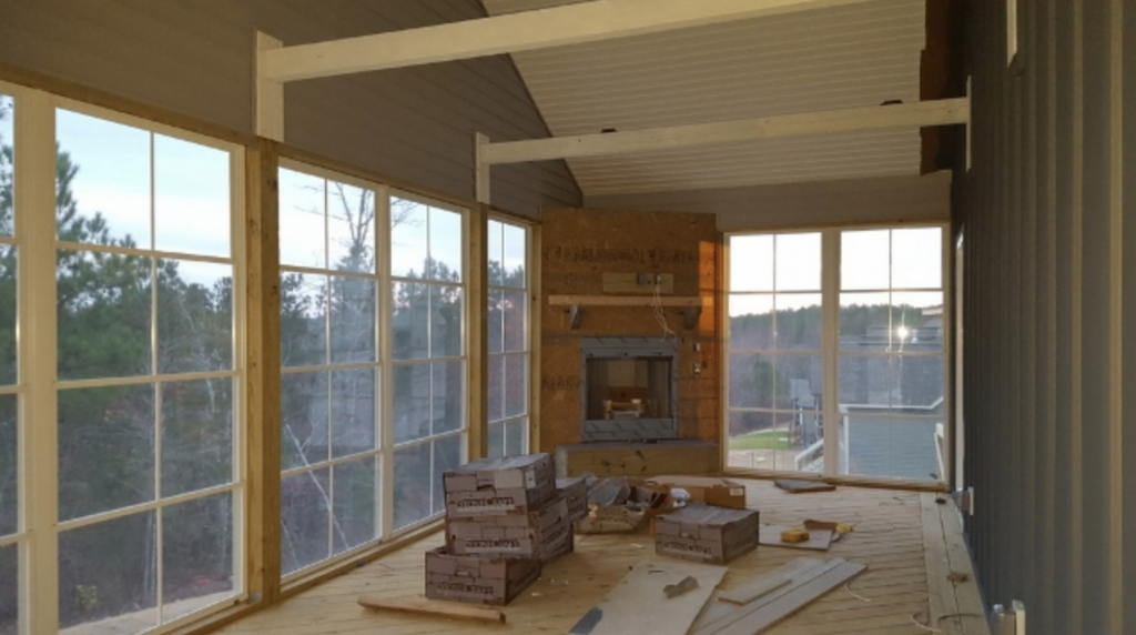 interior of screened in porch