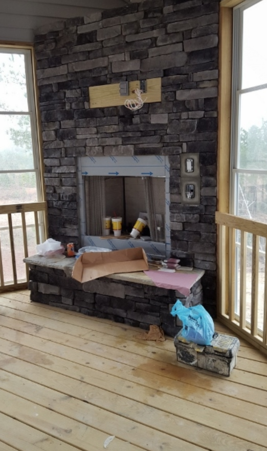 stonework on fireplace