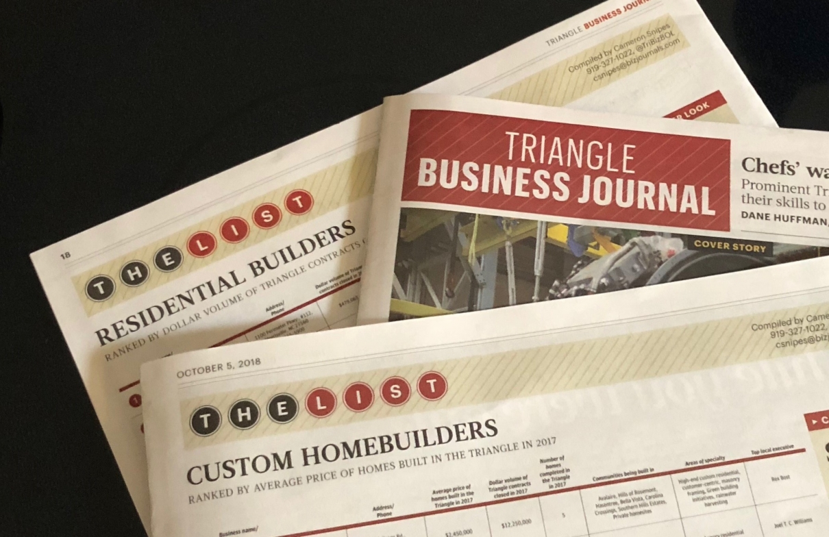 Triangle Business Journal Names Icg To Custom Builders List Icg Homes